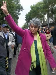 Basma Khalfaoui, avocate tunisienne et veuve de Chokri Belaid, le jour de son assassinat