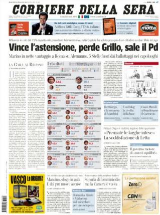 La Une du quotidien italien, Il corriere della serra