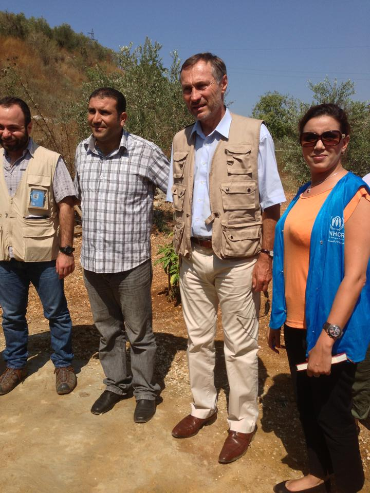 L'ancien ministre avec les représentants du Haut Commissariat aux Réfugiés de l'ONU au liban, en août dernier