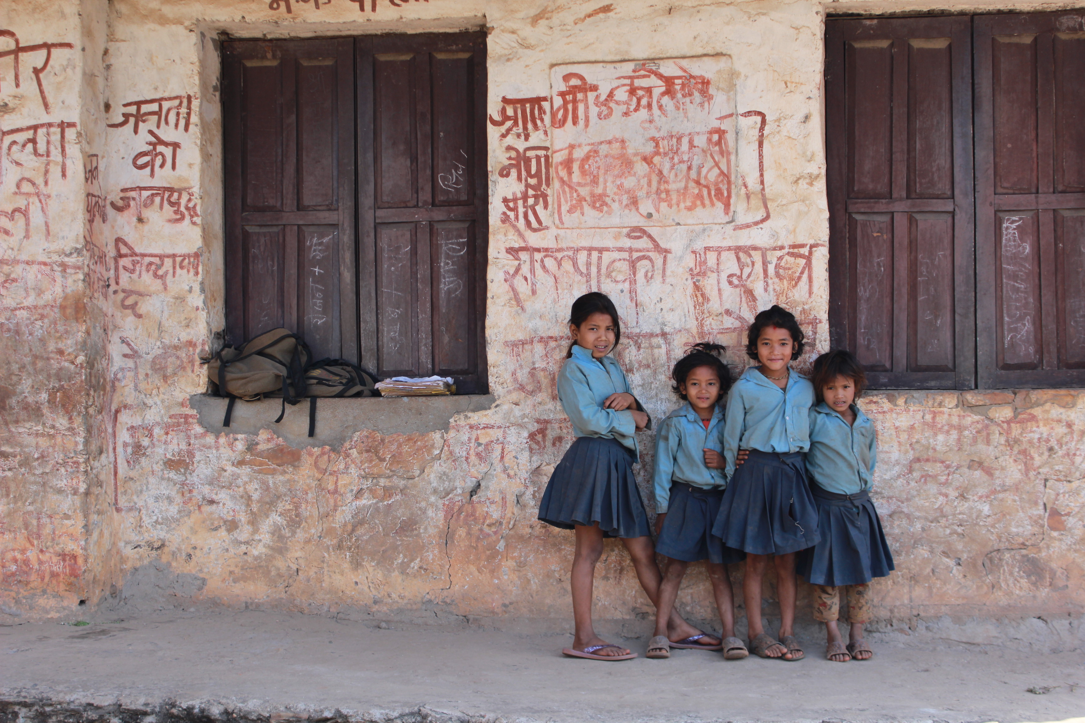 Schoolgirls in Nepal - March 2014 - Credits: courtesy of Childreach International
