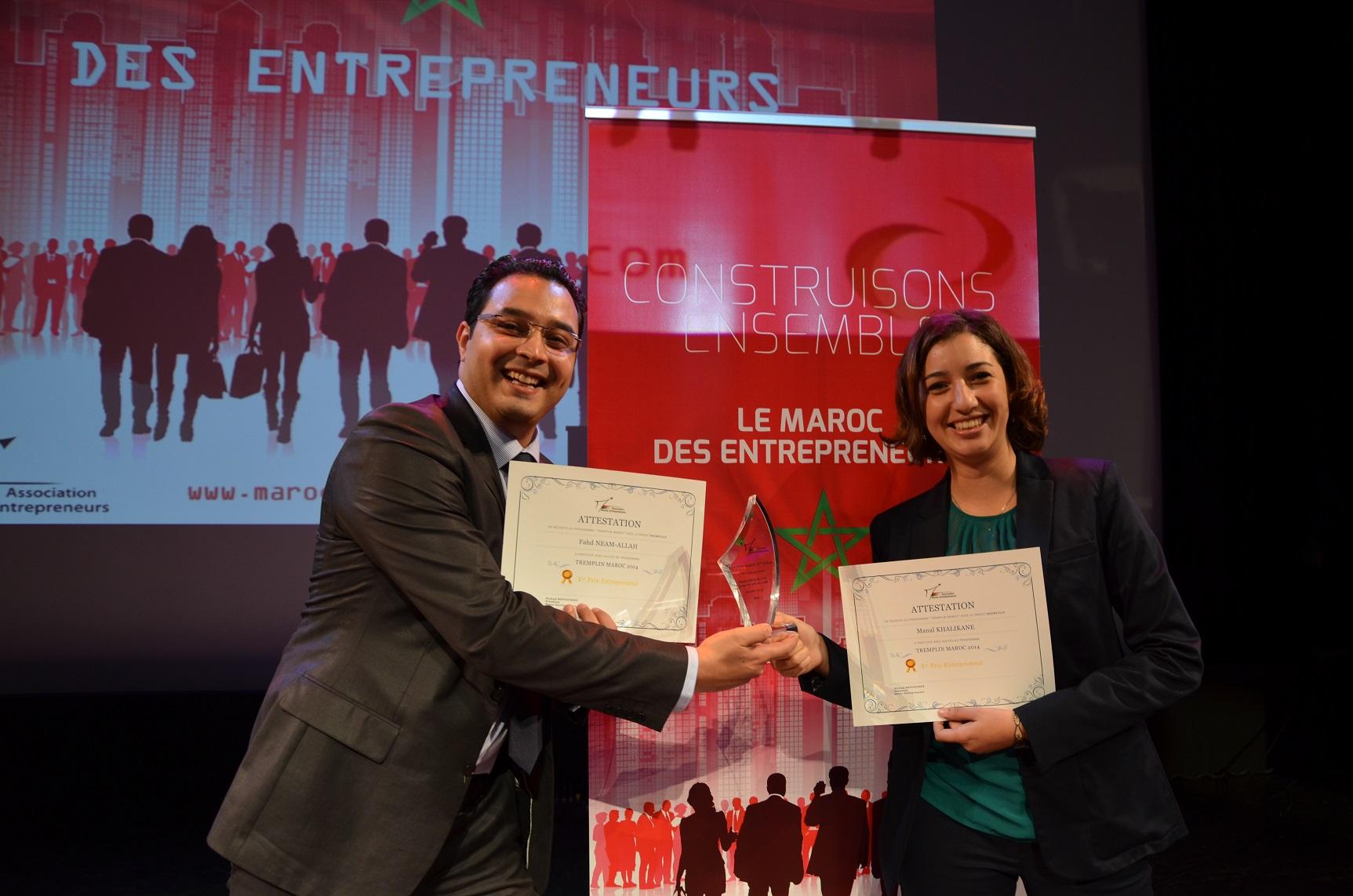 Remise du 1er Prix Entrepreneur de l'édition 2014 du concours Tremplin Maroc