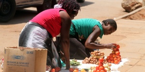 Street-vendors-arranging-their-vegtables-and-fruits-on-the-pavement-along-Chinhoyi-Street-in-Harare-yesterday.Pic-Hardlife-Samuwi