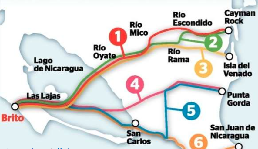Les cinq routes envisagées initialement : Le journal du siècle http://lejournaldusiecle.com/2013/06/14/nicaragua-une-entreprise-chinoise-obtient-la-concession-pour-un-futur-canal-interoceanique/