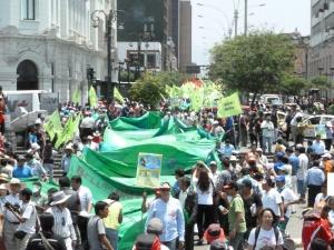 Ces derniers mois, la société civile s'est mobilisée   dans tout le Pérou, pour protester contre l'extractivisme minier à l'oeuvre dans le pays. © Camille Cuisset