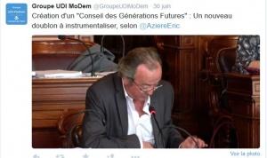 Capture d'écran du tweet du Groupe UDI à propos du Conseil des générations futures lors du Conseil de Paris