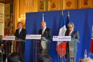 Ban Ki-Moon, Laurent Fabius et Manuel Pulgar-Vidal - Crédit : Stéphanie Petit