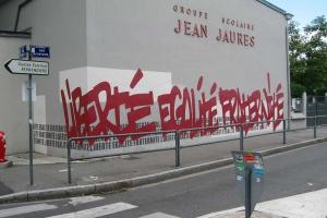 Liberté, égalité, fraternité sur les murs du groupe scolaire Jean Jaurès