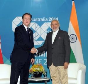 Les premiers ministres anglais et indiens s'étaient déjà rencontrés lors du sommet de Brisbane (Australie) en 2014 -  Crédit : Narendra Modi Official / Wikimedia Commons