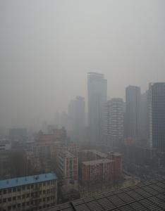 La pollution de l'air à Beijing en février 2014. Crédit: Kentaro IEMOTO / WCommons