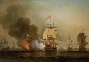 Combat naval au large de Carthagène, le 28 mai 1708.Oeuvre de Samuel Scott