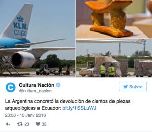 Capture d'écran du compte Twitter du ministère de la Culture argentin