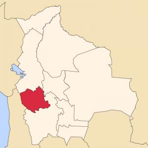 En rouge, le département d'Oruro, à l'ouest du pays, où le projet de parc photovoltaïque verrait le jour. Domaine public
