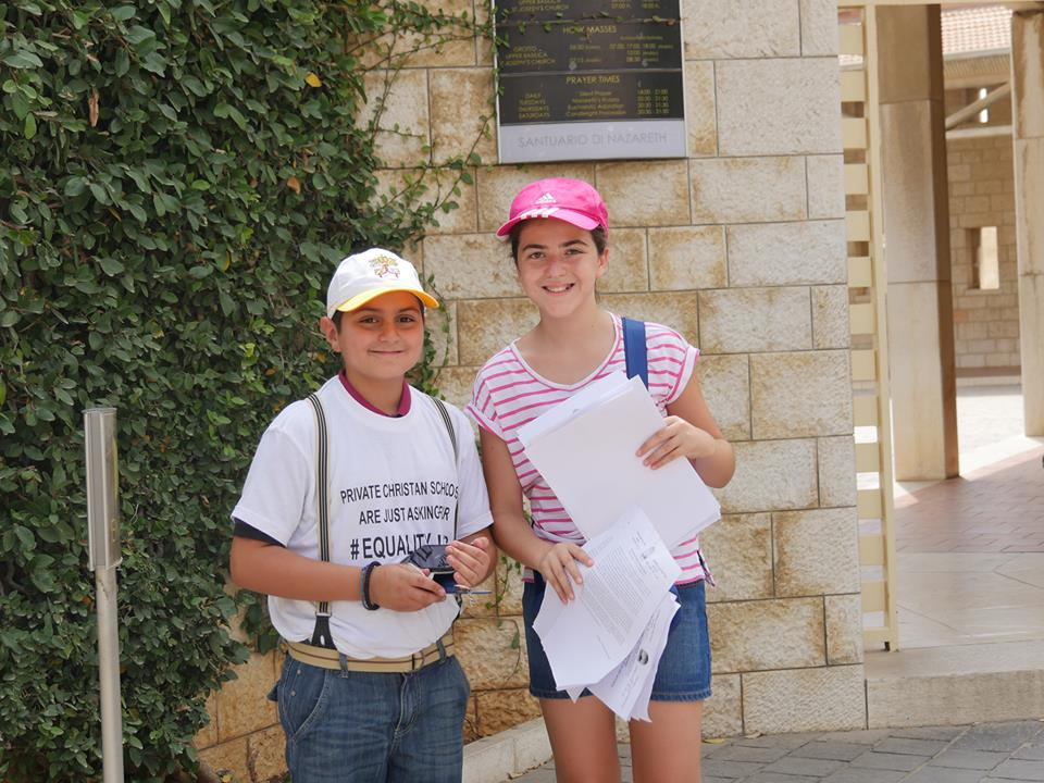 Enfants chrétiens de Nazareth témoignent sur leur scolarité -  Crédit photo : Interfaith Tour II