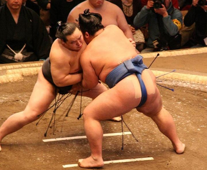 Match entre Asashōryū et Kotoshōgiku en 2008 - Crédit photo : Arcimboldo - Wikimedia Commons