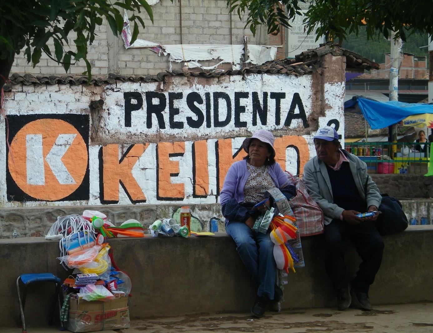 Les élections présidentielles s'invitent dans les rues d'Izcuchaca, région de Cusco. - Crédit photo : Corinne Duquesne