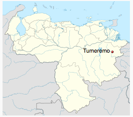 Localisation du village de Tumeremo, au Venezuela. Crédit photo : NordNordWest (Creative Commons)