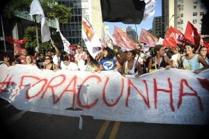 Manifestation « contre » l'impeachment, le 16 décembre 2015, à Rio. On peut lire « #DehorsCunha ». Crédit photo : Agência Brasil Fotografias.