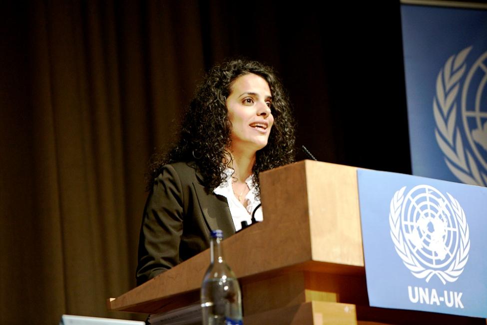 Honey Thaljieh ors d'une conférence organisée par l'ONU - Crédit photo : ONU - Tous droits réservés
