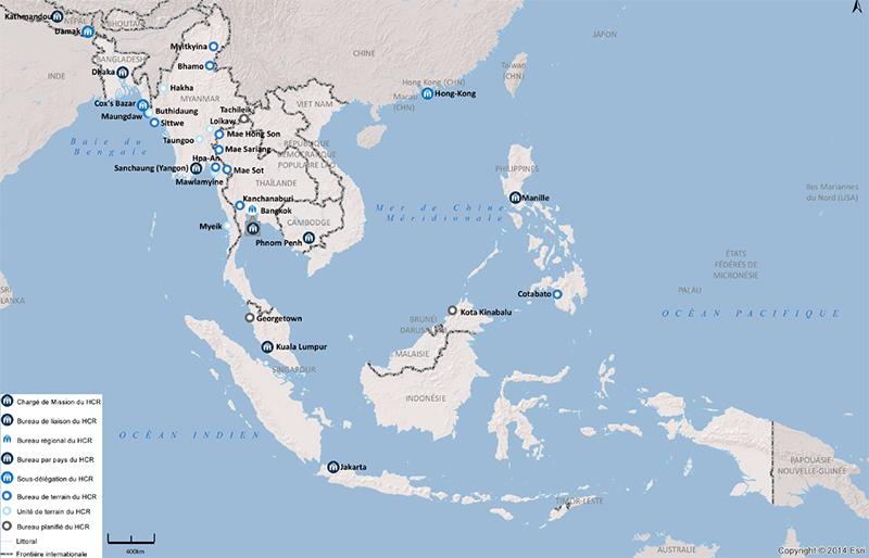 Carte de la présence du Haut  Commissariat aux réfugiés en Asie - Crédit photo : UNHCR