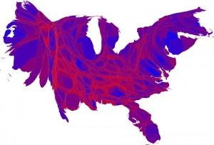 Cartogramme des élections américaines de 2008 - Crédit: M. E. J. Newman