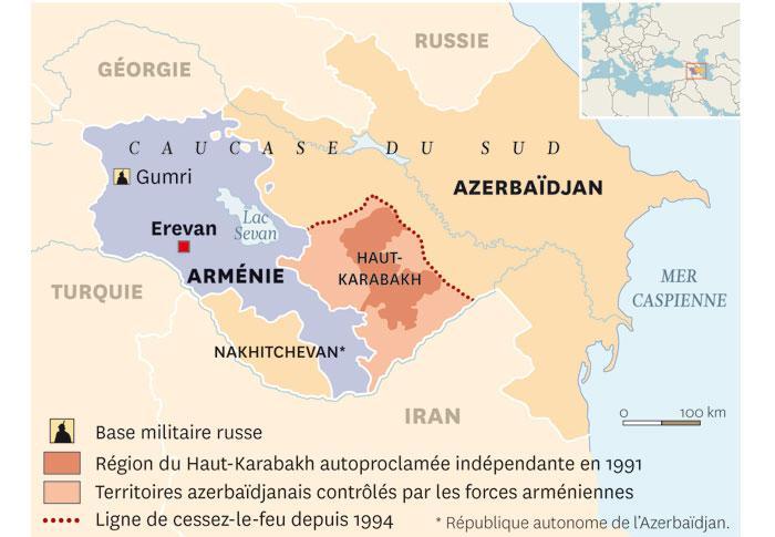 Carte du Haut-Karabagh - Source : Courrier international