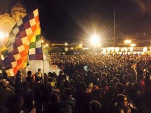 Le 5 avril, de nombreux manifestants ont défilé dans les rues de Cusco pour protester contre la candidature de Keiko Fujimori. Crédit photo : Corinne Duquesne