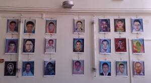 Portraits d'une partie des 43 étudiants disparus en septembre 2014 à Iguala. Crédits : Claire Plisson