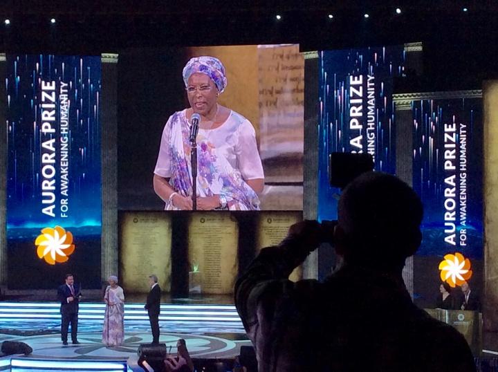 la lauréate du prix Aurora, Marguerite Barantikse