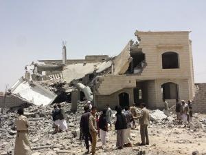 Maison détruite par une bombe saoudienne au Yemen - Crédit photo : Ibrahem Qasim