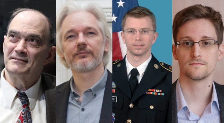 De gauche à droite : Bill Binney, Julian Assange, Bradley Manning et Edward Snowden
