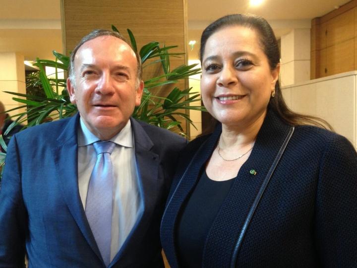 Pierre Gattaz et Miriem Bensalah-Chaqroun, présidente de la CGEM (Confédération générale des entreprises du Maroc) - Crédit photo : Michel Taube