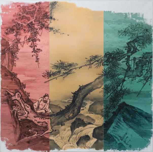 He Sen, The stream away, 2014, Oil on canvas, 150 x 150, Courtesy Primo Marella Gallery