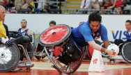 Point marqué par Ryadh Sallem lors du match de rugby-fauteuil opposant la sélection française à l'équipe de Suède à l'occasion des Paralympiques de Londres 2012 - Crédit photo : G. Picout